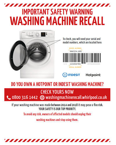 Washing Machine recall poster. Whirlpool.