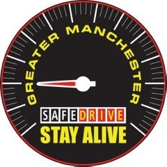Graphic of speedometer with text on it 'Greater Manchester Safe Drive Stay Alive'