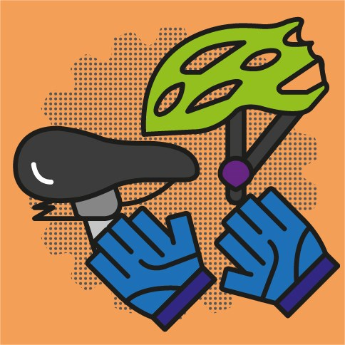 Graphic of cycle helmet, bike seat and cycling gloves